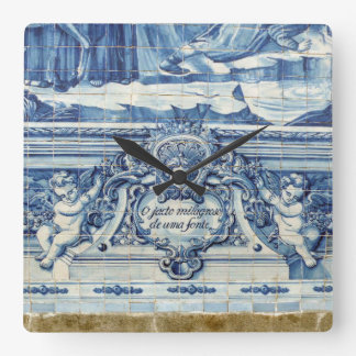 Blue tiles from Portugal Square Wall Clock
