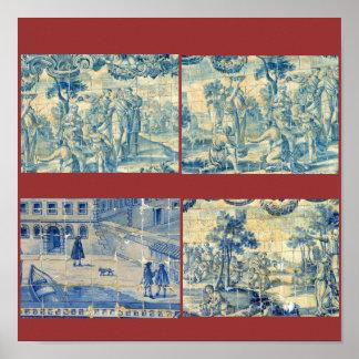 Blue tiles print