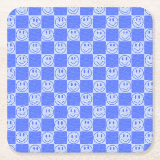 Blue Tiles with Smiles Square Paper Coaster