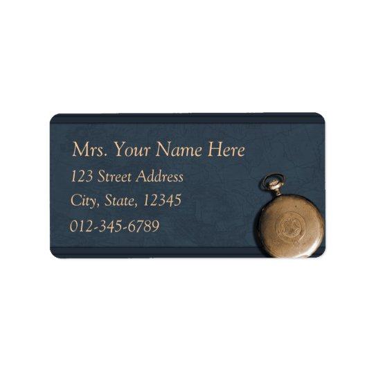 Blue Timepiece Address Lables Label