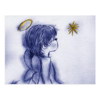 blue tint angel wishing postcard