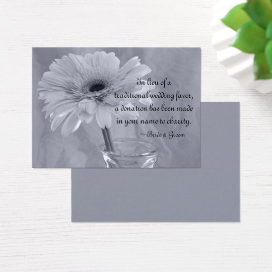 Blue Tinted Daisy Wedding Charity Favour Card