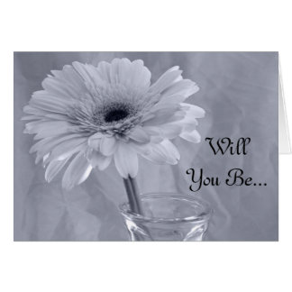 Blue Tinted Daisy Will You Be My Bridesmaid Card