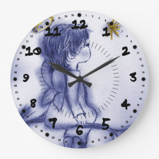 Blue Tinted Little Angel Large Clock