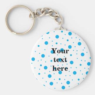 Blue tiny and big polka dots key ring