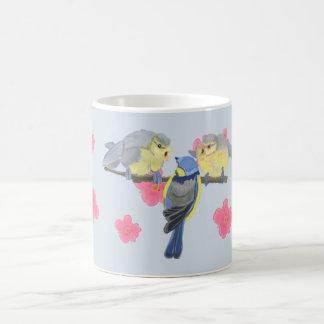 Blue-Tit, and chicks amongst pink Cherry Blossom Coffee Mug