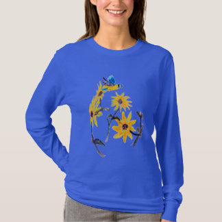Blue Tit and Yellow Sunflowers Art, Floral T-Shirt