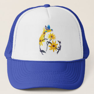 Blue Tit and Yellow Sunflowers Art, Floral Trucker Hat