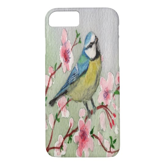 Blue Tit Bird On Cherry Blossom Tree Watercolour iPhone 8/7 Case