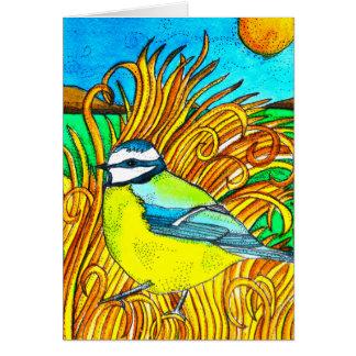 Blue Tit Sunset Card