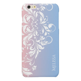 Blue To Pink Gradient With Floral White Lace iPhone 6 Plus Case