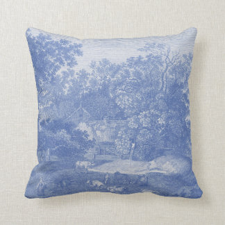 Blue Toil de Jouy French Country Shabby Elegance Cushion
