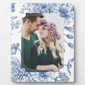 Blue Toile Flowers Photo Frame