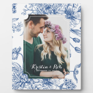 Blue Toile Flowers Photo Wedding Frame