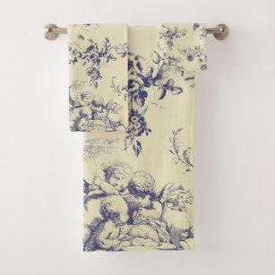 Blue Toile French Country Cherub Pattern Bath Towel Set