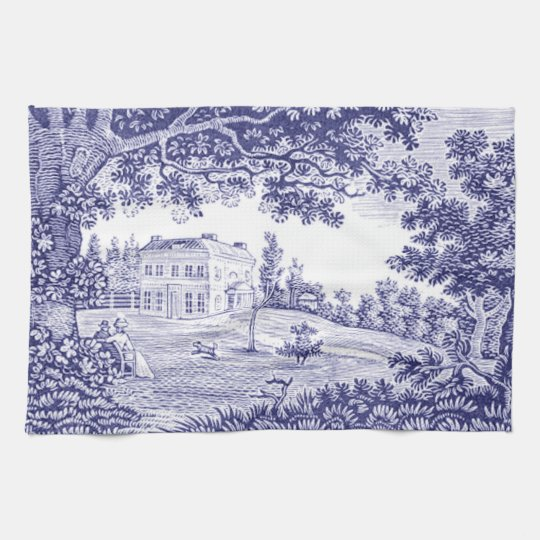 Blue Toile Kitchen Towel - French Country Decor