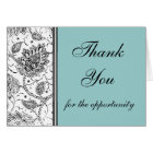 Blue Toile Thank You Cards, Personalised Card
