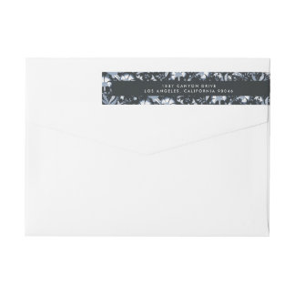 Blue Toile Wraparound Return Address Labels