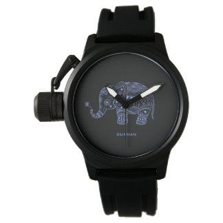 Blue Tones Faux Glitter Floral Elephant Design Wristwatch
