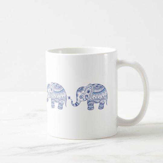Blue Tones Glitter Floral Elephant Design Coffee Mug