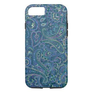 Blue Tones Vintage Ornate Paisley Fabric Pattern iPhone 8/7 Case