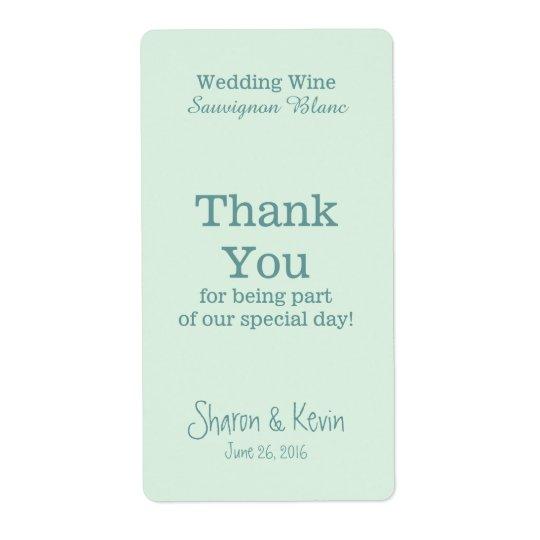 Blue Tones Wedding Wine Thank You