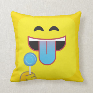 Blue Tongue Emoticon Cushion
