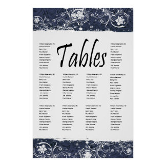 Blue Tooled Leather and Lace Seating Chart Posters