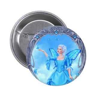 Blue Topaz Birthstone Fairy Button Badge