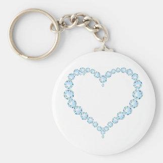 Blue Topaz Gem Heart Basic Round Button Key Ring