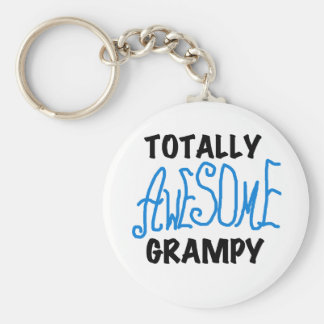 Blue Totally Awesome Grampy Tshirts and Gifts Basic Round Button Key Ring