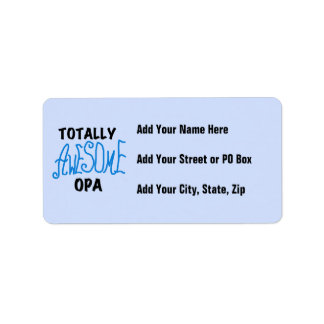 Blue Totally Awesome Opa T-shirts and Gifts Address Label