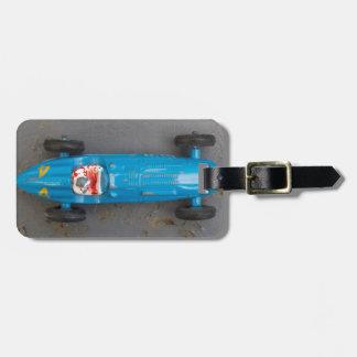 Blue toy car luggage tag
