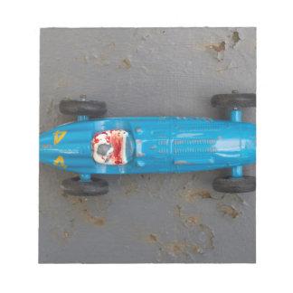 Blue toy car notepad