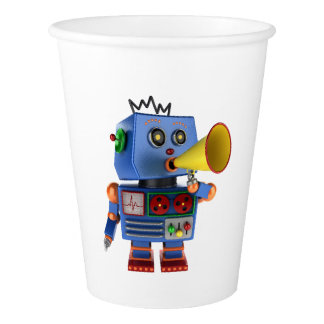 Blue toy robot with bullhorn paper cup