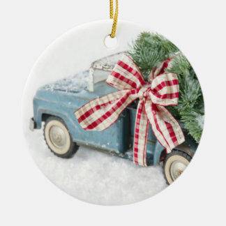 Blue Toy Truck Carrying A Christmas Tree Christmas Ornament