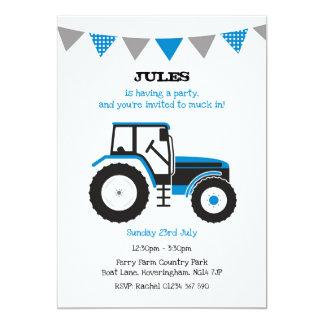 Blue Tractor Birthday Party Invite