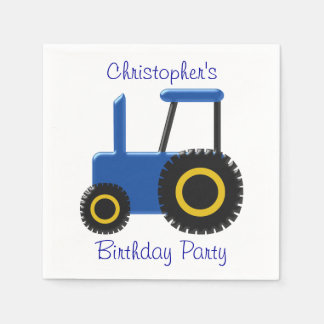 Blue Tractor Birthday Paper Napkin
