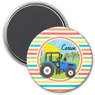 Blue Tractor Bright Rainbow Stripes Magnets