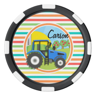 Blue Tractor; Bright Rainbow Stripes Poker Chips
