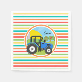 Blue Tractor; Bright Rainbow Stripes Disposable Napkins