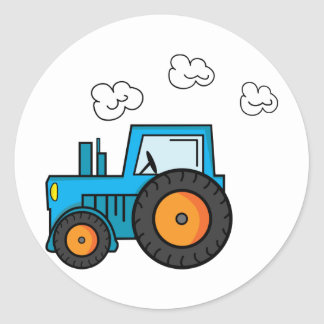 Blue Tractor Classic Round Sticker