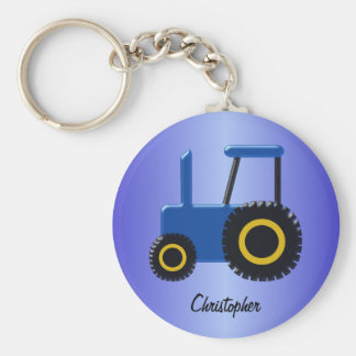Blue Tractor Just Add Name Key Ring