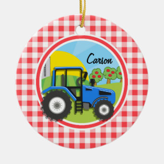 Blue Tractor; Red and White Gingham Round Ceramic Decoration