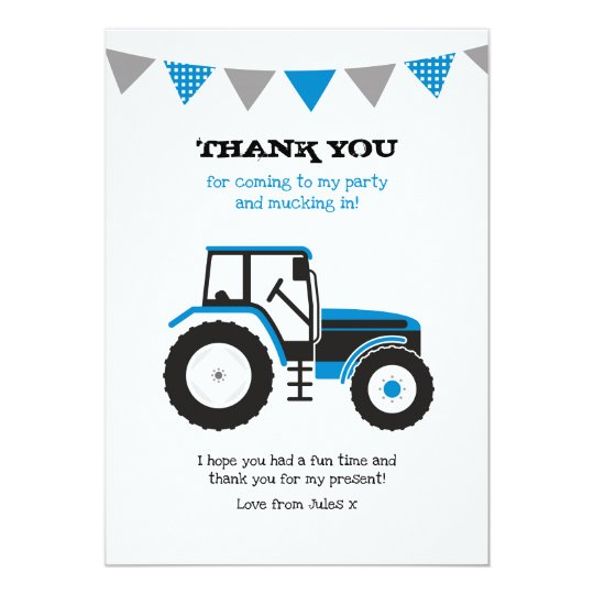 Blue Tractor Thank You Note Card
