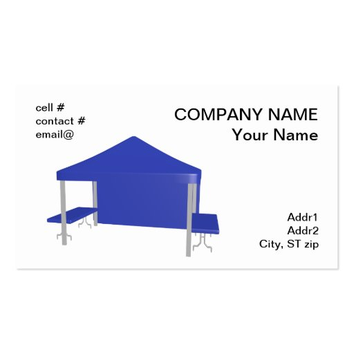 Blue trade show tent business cards zazzle for Tent business cards