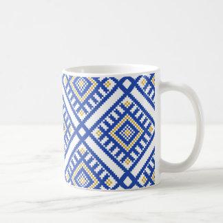 Blue Traditional Geometry Pattern Coffee Mug
