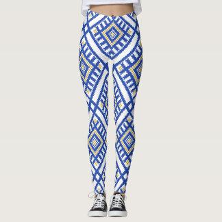 Blue Traditional Geometry Pattern Leggings