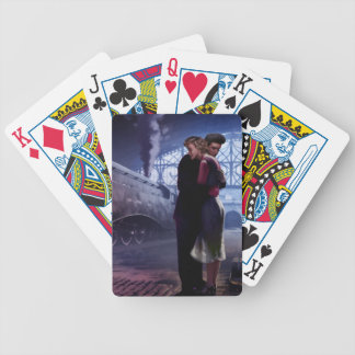 Blue Train Bicycle Playing Cards