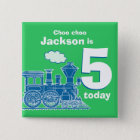 Blue train birthday name and age 5 green badge